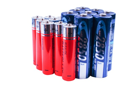 Bunch of rechargeables batterys isolated photo