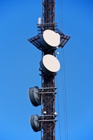 Telecom tower with microwave links on blue sky Oslo Norway Stock Photo - 11962916