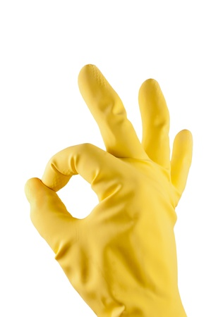 Ok sign with a yellow rubber glove