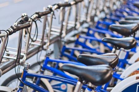 City bicycles in rain Oslo, Norway Standard-Bild