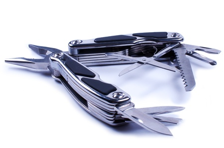 multy: Fully unfolded multy tool Stock Photo