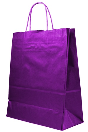 paper bag with handles close up isolated Stock Photo