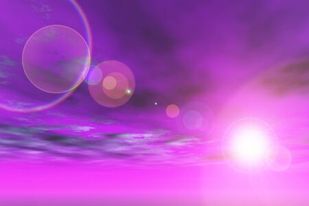 violet red: Purple sky with sun and lens flare