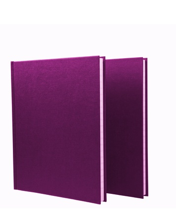 Two purple notepads isolated on white background photo