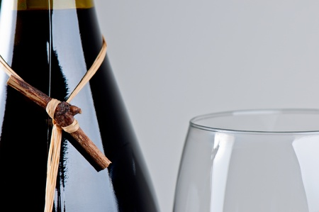 Full wine bottle and glass close up Stock Photo - 12196626