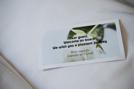 Welcome card on a pillow of cruising ship to Denmark