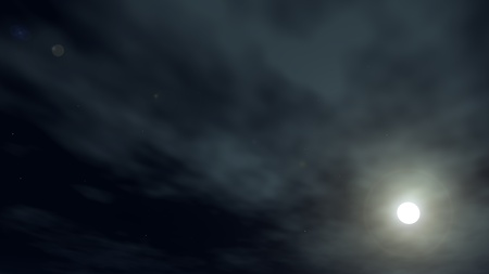Shone circle of the moon in darkness on a background of the star sky and clouds photo