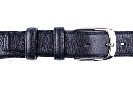 Black belt with a buckle close up isolated Stock Photo - 13230216