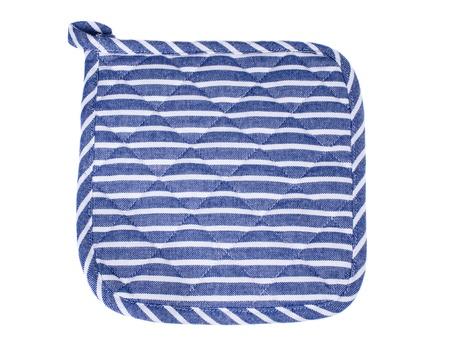 mitt: Blue and white oven mitt isolated Stock Photo