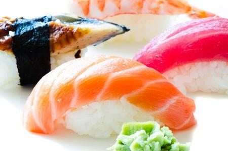 Set of Japanese sushi close up