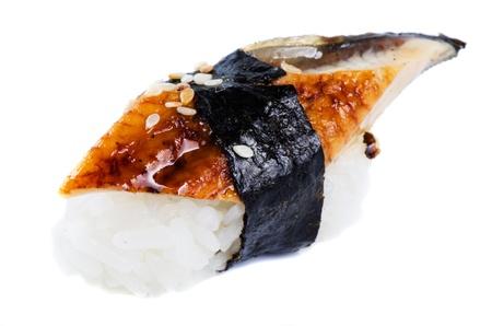 Sushi unagi isolated close up