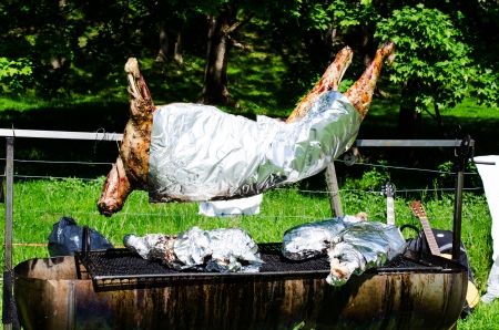Whole roasted pig on a spit close up photo