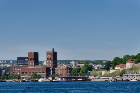 gildhall: Oslo City Hall and  Akershus Fortress Oslo, Norway Stock Photo