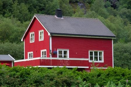 Typical Norwegian house Lysebotn, Norway