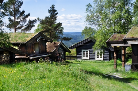 Typical Norwegian houses in  Oslo, Norway photo