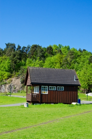 barrack: Typical Norwegian house on meadow