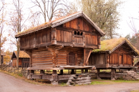 Norwegian typical wooden house with grass roof