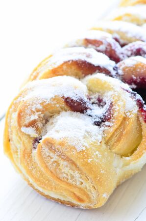 flaky: Pastry with jam close up Stock Photo