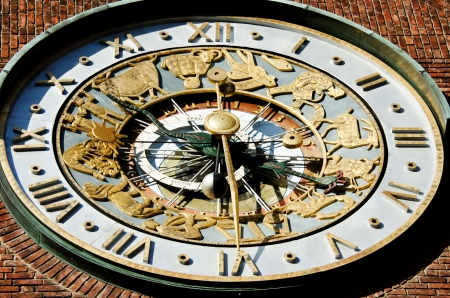 mechanism: Astronomical clock on wall City Hall  Radhuset  Oslo, Norway Stock Photo