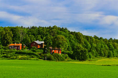 Traditional norwegian wooden houses standing in the distance photo