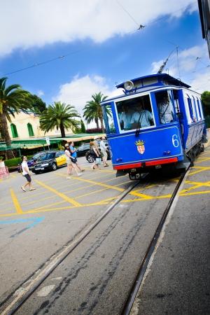 tibidabo: BARCELONA - JULY 13: Nostalgic Blue Tram to Tibidabo July 13, 2012 in Barcelona, Spain.