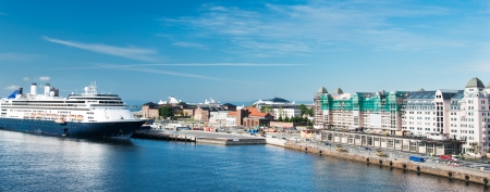 fiord: Norway. The Oslo skyline and harbor with cruise ship