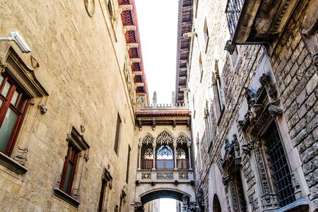 rei: Barcelona: neogothic bridge at Carrer del Bisbe (Bishop Street), near Placa del Rei and Placa Sant Jaume, in the heart of Barri Gotic (Gothic Quarter). Barcelona, Catalonia, Spain Stock Photo