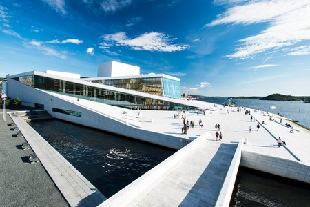 oslo: OSLO, NORWAY - AUGUST 11: View on a side of the National Oslo Opera House on August 11, 2012, which was opened on April 12, 2008 in Oslo, Norway