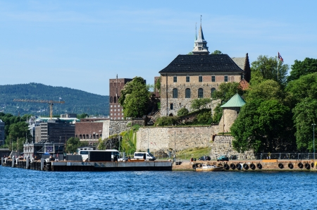 View on Oslo Fjord harbor and Akershus Fortress, Oslo, Norway