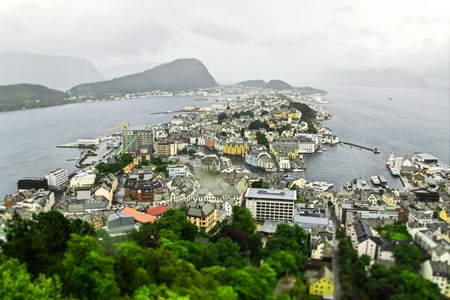 alesund: View on city Alesund in rainy day, Norway Stock Photo