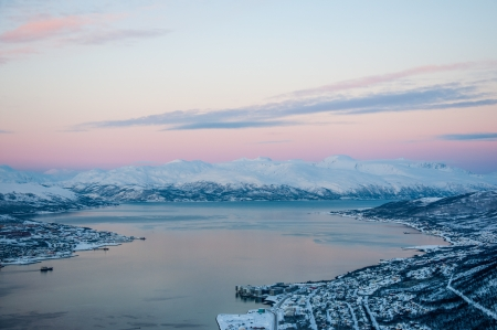 Panoramic view of Tromso at sunset, Norway photo