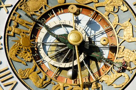 Close-up of the clock of Oslo City Hall Stock Photo