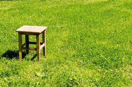 Lone stool on green meadow photo