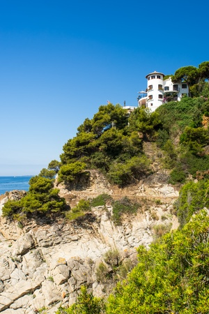 seafront: View on house on coast at Costa Brava