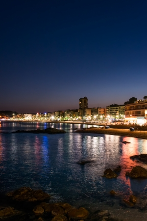 View of Lloret de Mar, Spain at night