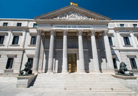 Architecture in Madrid. Spanish Congress of Deputies (Spanish: Congreso de los Diputados) - parliament building.
