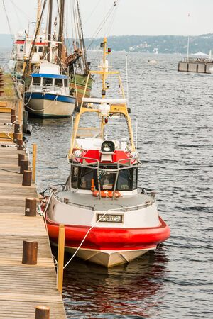 Moored maritime rescue boat, Oslo, Norway photo