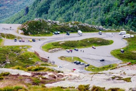 KJERAG, NORWAY - JULY 23: Parking lot at Kjerag a B.A.S.E. jumpers favorite destination on July 23, 2011 in Kjerag, Norway. Wingsuit cliff jumping is an advanced discipline, it makes human flight possible.