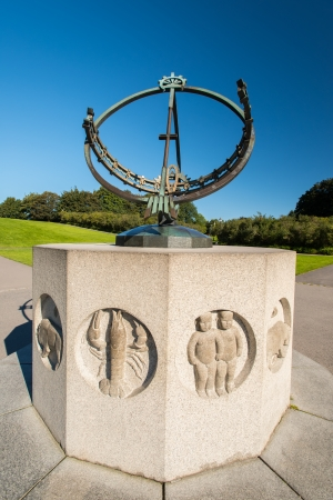 OSLO, NORWAY - AUGUST 27: Sundial in Vigeland park in Oslo, Norway on August 27, 2012. The park covers 80 acres and features 212 bronze and granite sculptures created by Gustav Vigeland. Stock Photo - 15108598