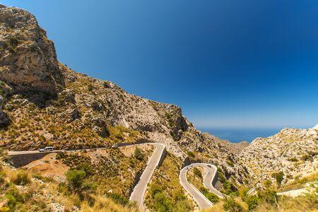 Winding road in mountain at Mallorca Island, Spain