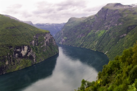 Beautiful view to the Atlantic ocean - Geiranger fjord, tilt-shift Stock Photo - 15571953