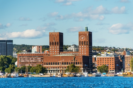 View of Oslo, Norway Radhuset  city hall  from the sea Stock Photo