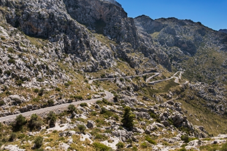 Winding road in mountain in Mallorca Spain photo