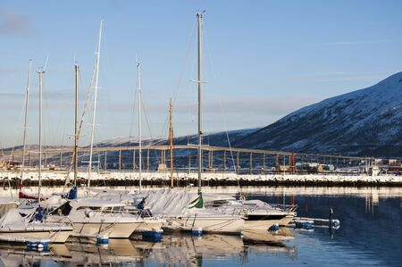 Marina in Tromso, Norway in winter photo