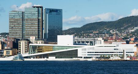 OSLO, NORWAY - SEPTEMBER 7  View on the National Oslo Opera House from Oslo Fjord on September 7, 2012, which was opened on April 12, 2008 in Oslo, Norway