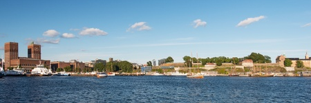 View on Oslo Fjord harbor, City Hall and Akershus Fortress, Oslo, Norway photo