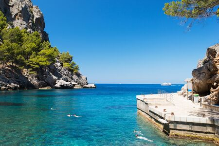 Beautiful beach lagoon cape Formentor in the coast of Mallorca, Balearic islands