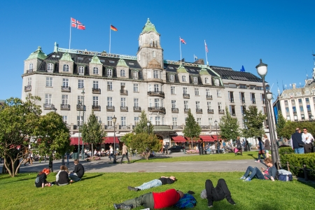 best known: OSLO, NORWAY - SEPTEMBER 5: Grand Hotel is a hotel in Oslo, Norway on September 5, 2012. The hotel is best known as is the annual venue of the winner of the Nobel Peace Prize. Editorial