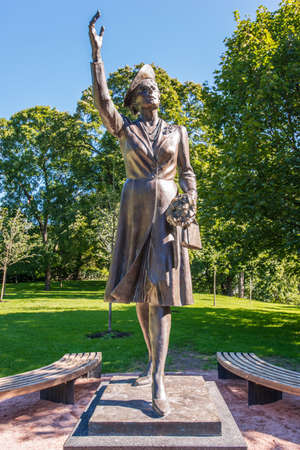 martha: OSLO, NORWAY - AUGUST 27: Statue of the princess Martha of Sweden near Royal Palace in Oslo on August 27,2012. It was erected in 2007.