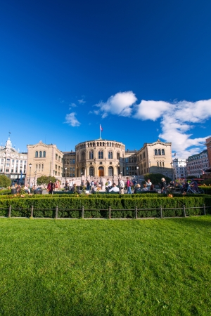 victor: OSLO, NORWAY - SEPTMBER 5: The Storting is the supreme legislature of Norway, located in Oslo. Parliament was established by the Constitution of Norway in 1814 and is designed by Emil Victor Langlet. Editorial